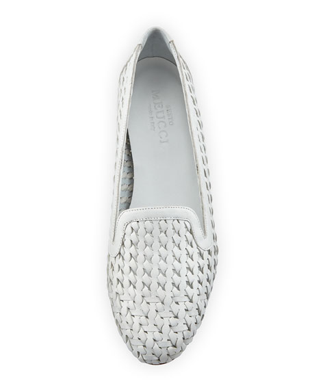 Neya Woven Leather Loafer, White