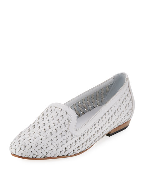 Sesto Meucci Neya Woven Leather Loafer, White