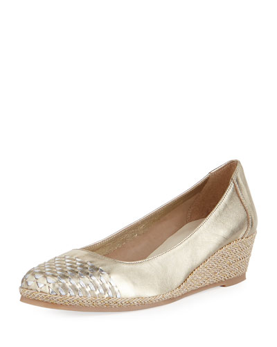 Magaly Woven Slip-On Espadrille Pump, Gold