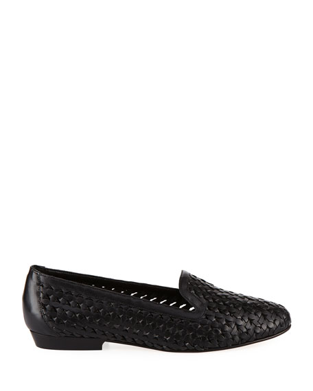 Neya Woven Leather Loafer, Black