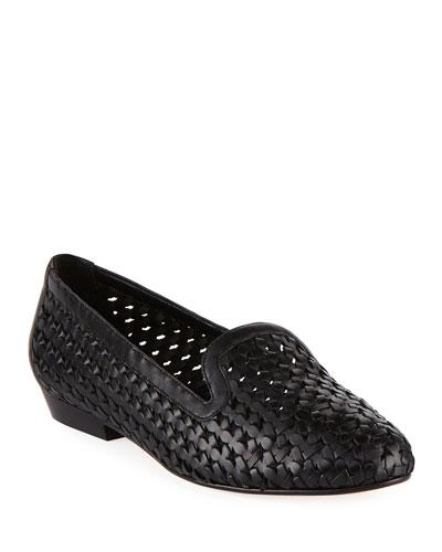 Neya Woven Leather Loafer, Black