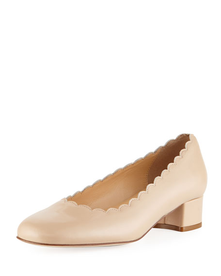 Sesto Meucci Hali Scalloped Leather Pump, Ecru