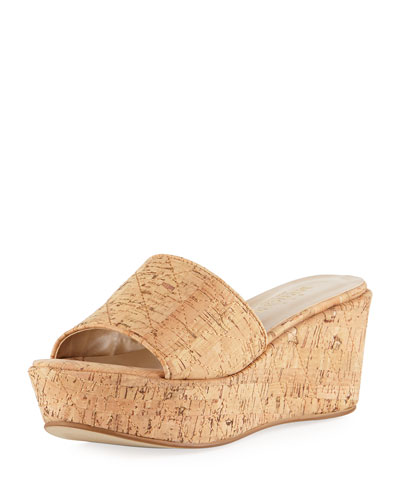 Tahnee Quilted Cork Wedge Slide Sandal, Neutral