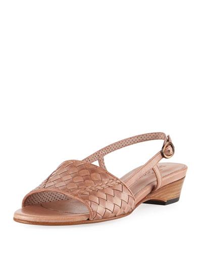 Ginger Woven Leather Slingback Sandal, Neutral