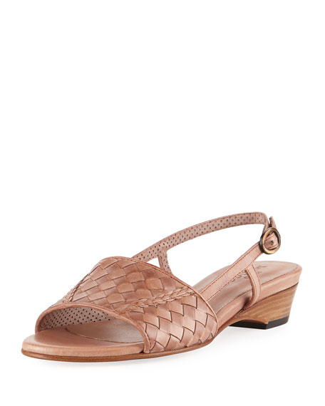 Sesto Meucci Ginger Woven Leather Slingback Sandal, Neutral