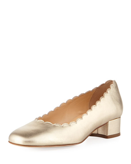 Hali Scalloped Metallic Pump, Champagne