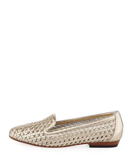 Neya Woven Leather Loafer, Gold
