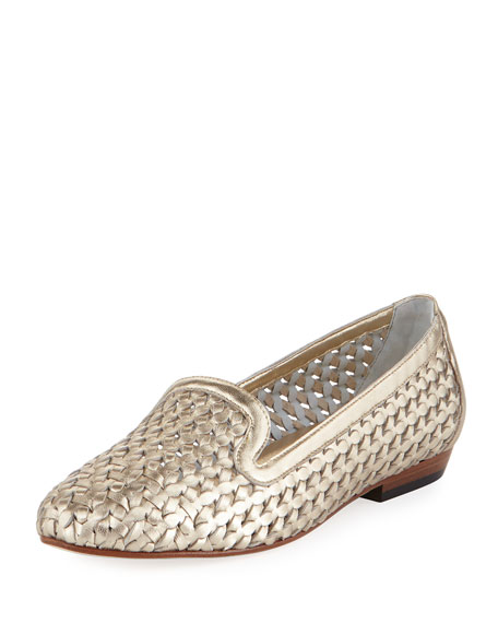 Sesto Meucci Neya Woven Leather Loafer, Gold