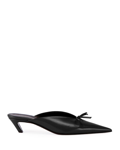 Pointed-Toe Leather Bow Mule, Black