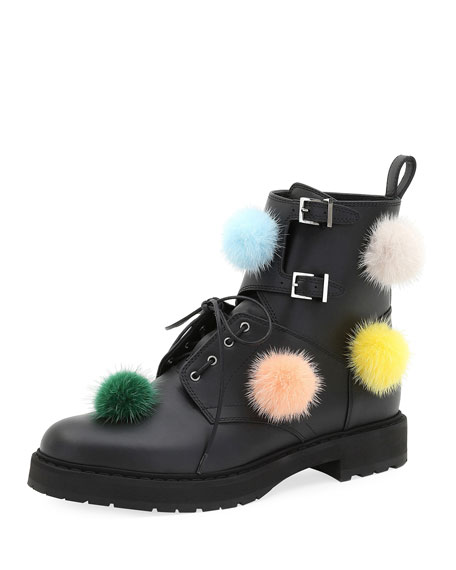 Ankle Boot with Mink Fur Pompoms