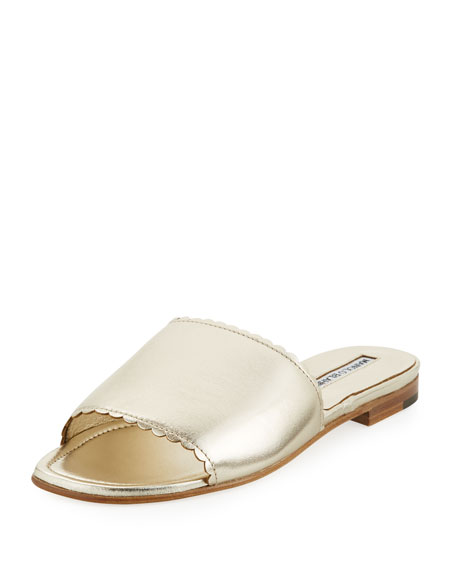 Manolo Blahnik Arcara Metallic Flat Slide Sandals, Gold