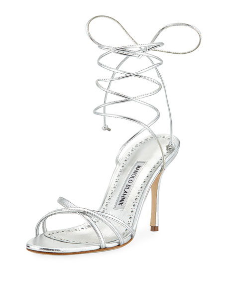 Manolo Blahnik Leva Metallic Strappy Ankle-Wrap Sandal, Silver