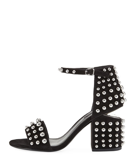 Abby Studded Tilt-Heel City Sandal, Clay