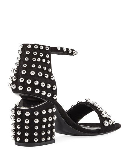 Abby Studded Tilt-Heel City Sandal, Clay
