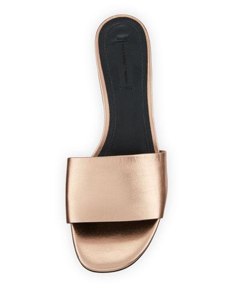 Lou Metallic Slide Sandals, Rose Gold