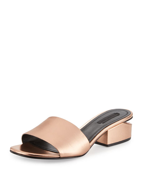 Alexander Wang Lou Metallic Slide Sandal, Rose Gold