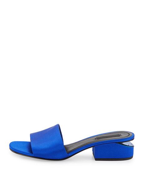 Lou Satin Slide Sandal, Cobalt