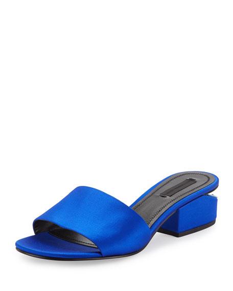 Alexander Wang Lou Satin Slide Sandal, Cobalt