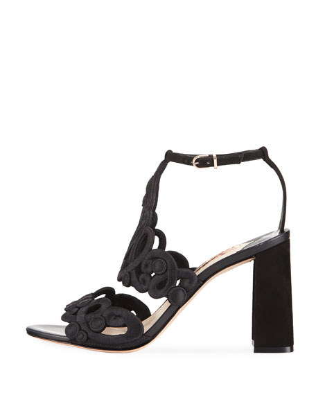 Albany Embroidered Block-Heel Suede Sandal
