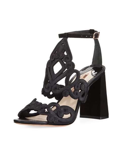 Sophia Webster Albany Embroidered Block-Heel Suede Sandal