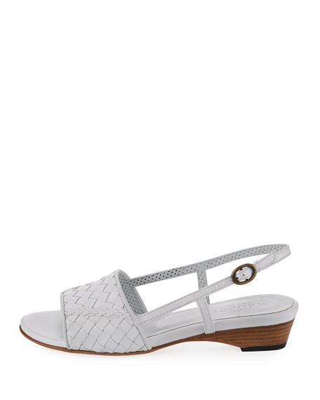 Ginger Woven Leather Sandal, White
