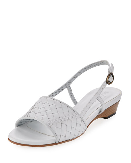 Sesto Meucci Ginger Woven Leather Sandal, White