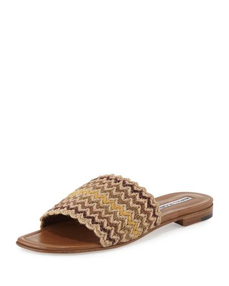 Manolo Blahnik Arcara Woven Flat Slide Sandal