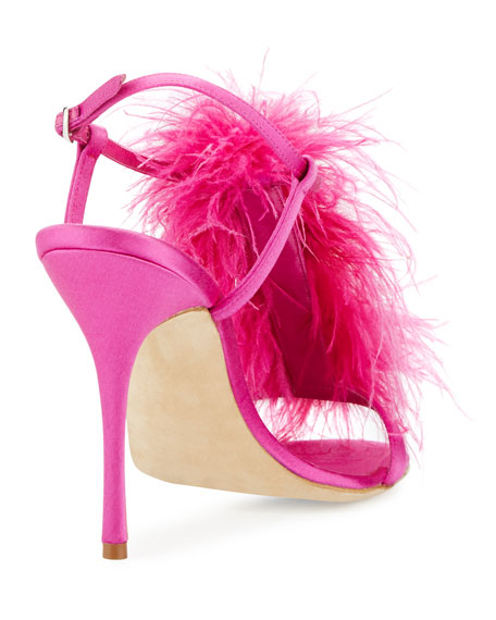 Eila Feather T-Strap 105mm Sandal