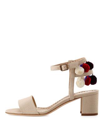 6e70365aefdd0 Manolo Blahnik Pompom Linen Block-Heel Sandal | Neiman Marcus