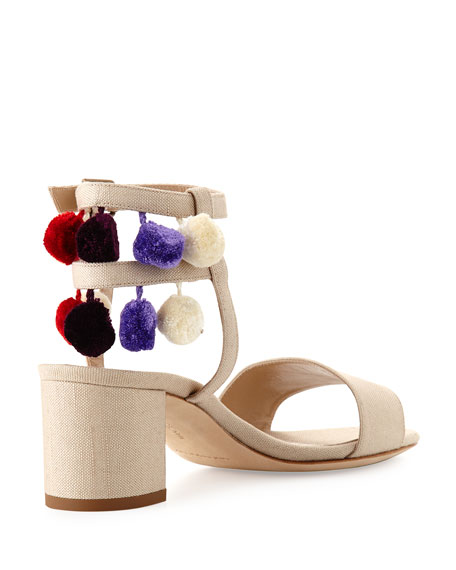 Pompom Linen Block-Heel Sandal