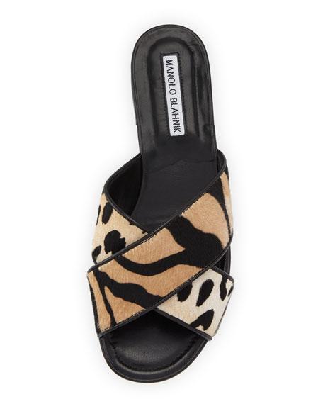 Otawi Calf-Hair Flat Slide Sandal