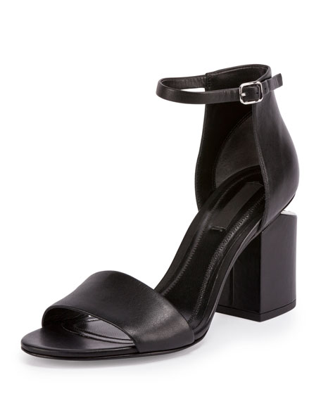 Alexander Wang Abby Tilt-Heel Leather Sandal, Black