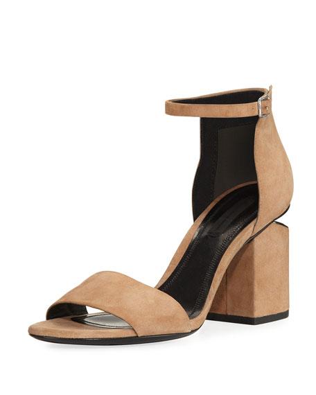 Alexander Wang Abby Suede Tilt-Heel City Sandal, Sand