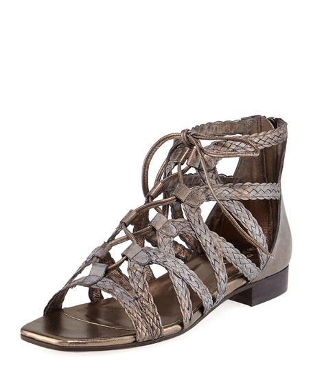 Sesto Meucci Gidget Woven Flat Gladiator Sandal, Pewter
