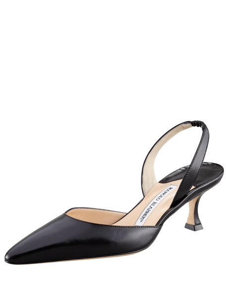 Manolo Blahnik Carolyne Low-Heel 50mm Halter, Black