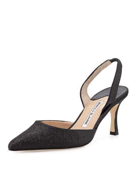 Carolyne Glitter Mid-Heel Halter Pump, Black