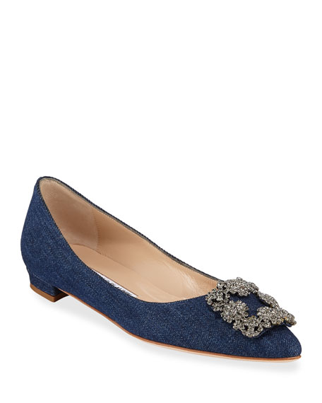 Manolo Blahnik Hangisi Crystal-Buckle Striped Denim Flat