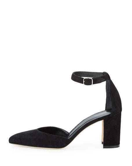 Lausam Suede Ankle-Wrap Pump