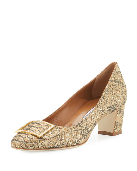 Manolo Blahnik Duran Snake-Brocade 50mm Pump, Gold