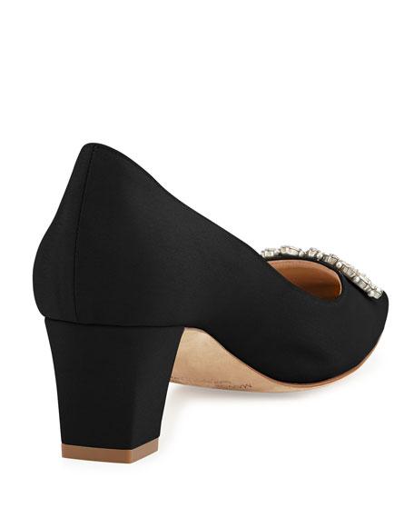 Okkato Low-Heel Crepe Pump, Black