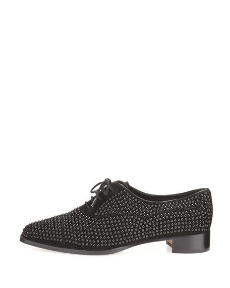 Perlita Studded Suede Oxford, Black