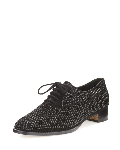 Manolo Blahnik Perlita Studded Suede Oxford, Black