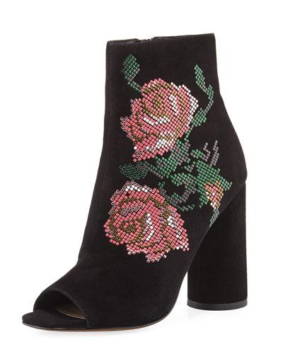 Barri Floral Open-Toe Bootie, Black