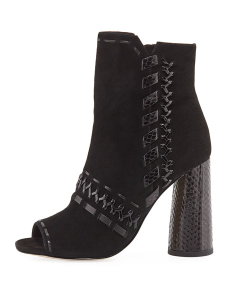 Briget Whipstitch Open Toe Bootie, Black