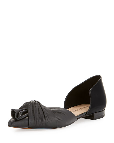 Pennie Ruching d'Orsay Flat, Black