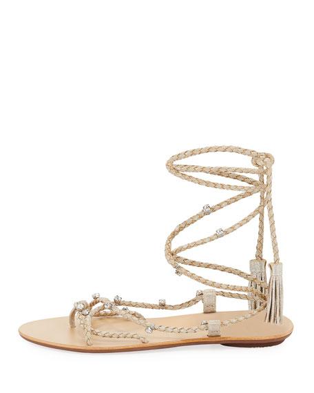 Bo Ankle-Tie Flat Tassel Sandals, Silver