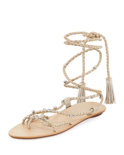 Bo Ankle-Tie Flat Tassel Sandal, Silver