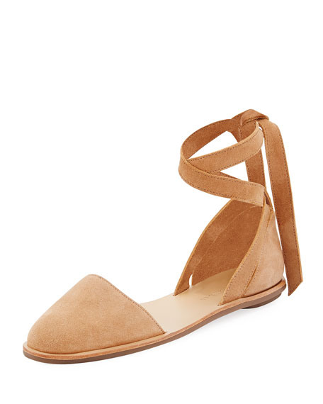 Dina Suede Ankle-Wrap Flat, Deep Blush