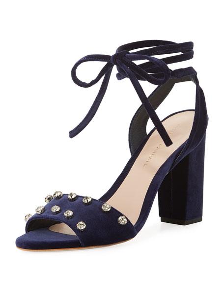 Elayna Crystal-Studded Velvet Sandals, Eclipse