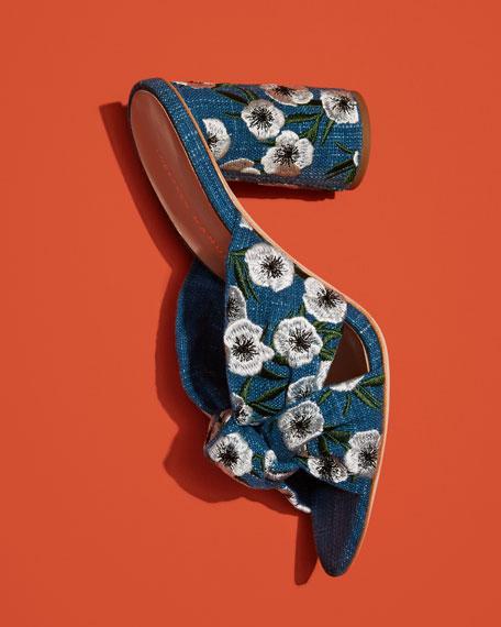 Coco Denim Embroidered Mule Sandals, Indigo